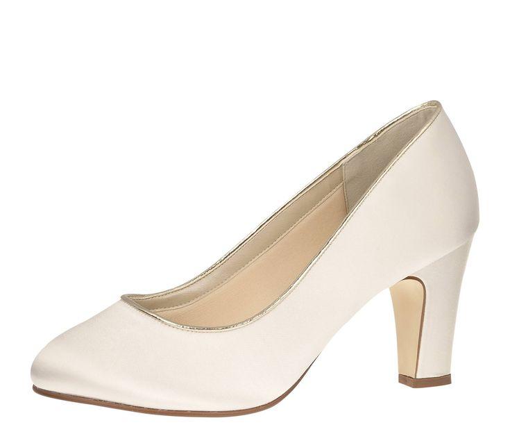 Schicker Satin Pumps-Brautschuh mit eleganter Gold Piping Einfassung. Größe: 4 (37) - 8 (41) + 9 (42) Farbe: ivory (creme) Absatzhöhe: 8 cm Leiste: L35 extra weich gefüttert (Soft Bliss) Dieser Schuh kann in jede gewünschte...