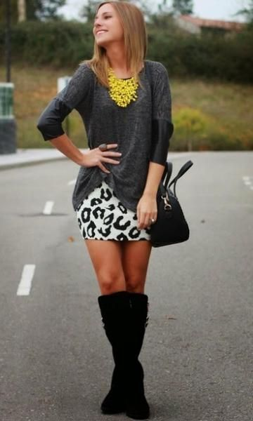 Look Cinza + Animal Print