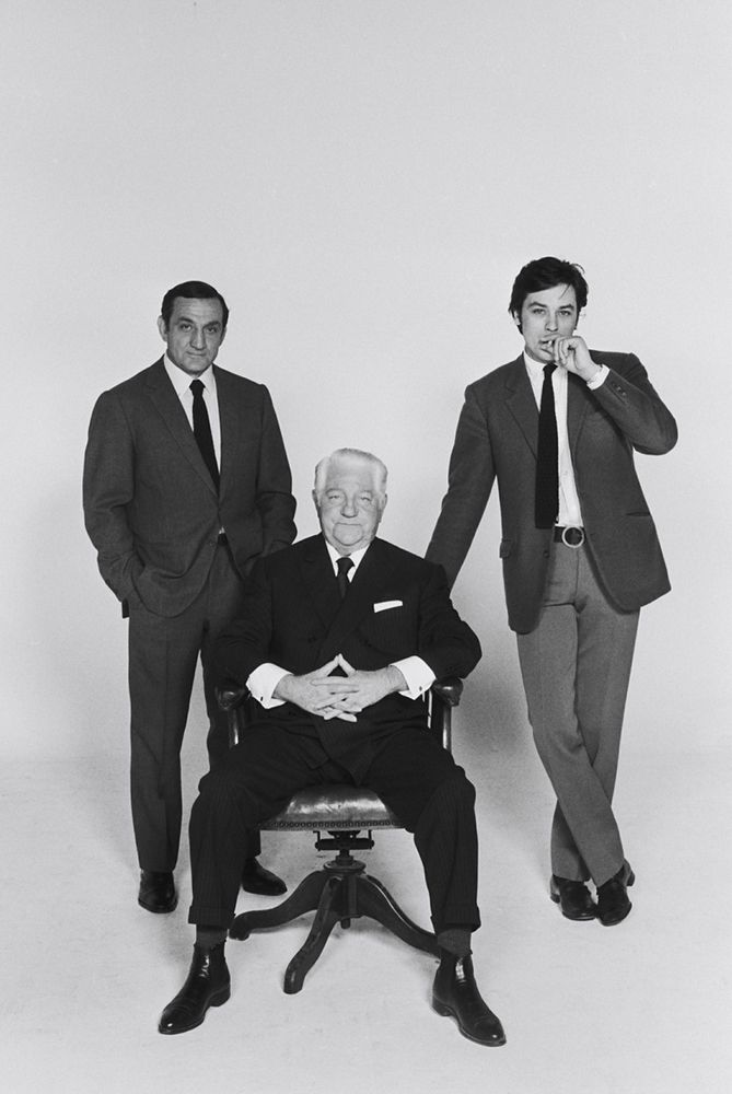"Lino Ventura, Jean Gabin and Alain Delon on the set in ""Le clan des siciliens"" by Henri Verneuil 1969"