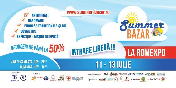 Ce inseamna Summer Bazar? • Produse de larg consum aduse mai aproape de bucuresteni, intr-un spatiu care poate gazdui orice tip de expozitie sau eveniment • Branduri de succes, oferte de nerefuzat, sute de produse, zeci de noutati • 3 zile tematice pline de evenimente dinamice, care implica direct vizitatorii si expozantii  Haideti la SUMMER BAZAR (II), intre 11 si 13 iulie, la ROMEXPO!