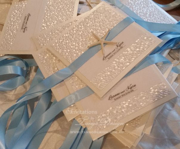 Beach Wedding Pocket Invitations For Our Lovely UK Couple Getting Married  In Santorini Island. The Starfish Decorating The Gorgeous Beach Theme  Paper, ...