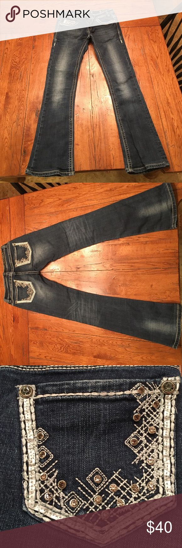 Rock and Roll Cowgirl boot cut jeans Cute Rock and Roll boot cut jeans with sequences and gems on the pockets Rock & Roll Cowgirl Jeans Boot Cut