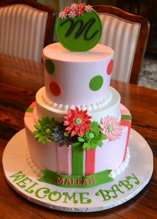 Gerber daisy baby shower.This would be great for a birthday cake for a little girl.