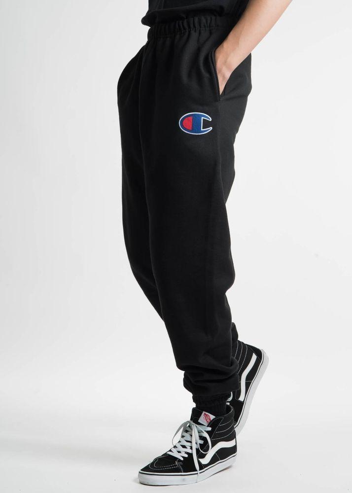 b9d411036155 New Champion Mens Black Reverse Weave Three Pocket Jogger Sweatpants Size  XL  Champion  CasualPants