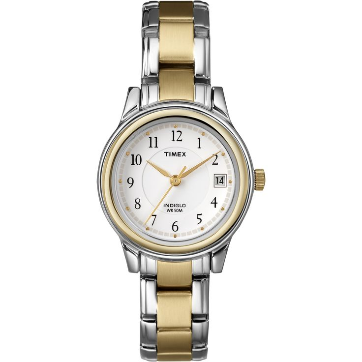 Classically styled and updated with the latest Timex timekeeping technology, the two-tone Timex Women's Sport Chic stainless steel watch makes a great accent to both your everyday and business wear. It features a round watch case with a gold-tone bezel.