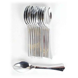 Bulk Lot 24 Packs Party Spoons Silver Lo