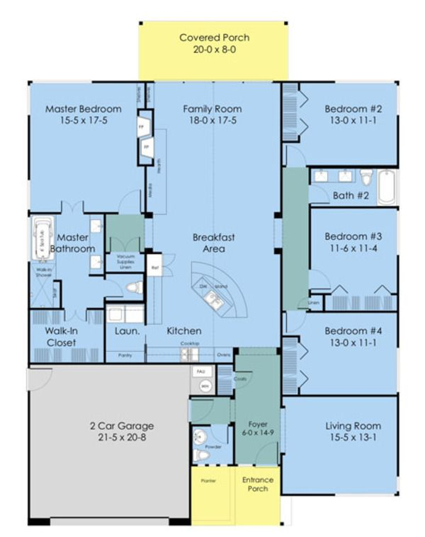 Ranch style house plan 4 beds 2 5 baths 2352 sq ft plan 489