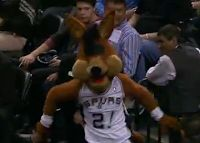 Spurs mascot loses his eyes after taking a charge from Aaron Brooks (Video) by Holdout Sports