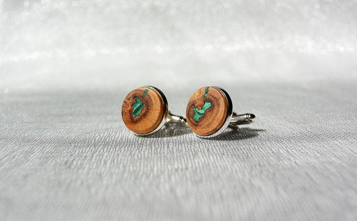 Cufflinks from plum tree inlaid with malachite, wooden cufflinks, wooden cufflinks with malachite inlay by Mazunii on Etsy