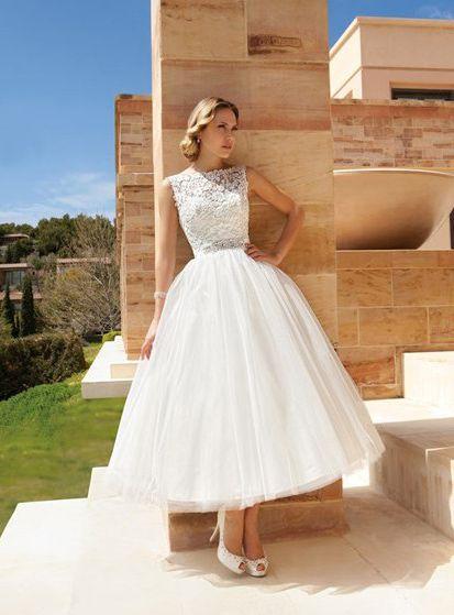 Beformal.com.au SUPPLIES Beautiful Ball Gown Sleeveless Bateau Tulle Ankle-length Beading Wedding Dresses Beach Wedding Dresses