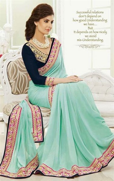 Picture of Appealing Baby Blue Georgette Saree