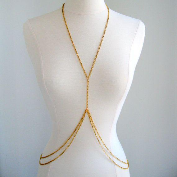 Double Loop Gold Body Chain Body Jewellery Women by fairedelamode, $29.00
