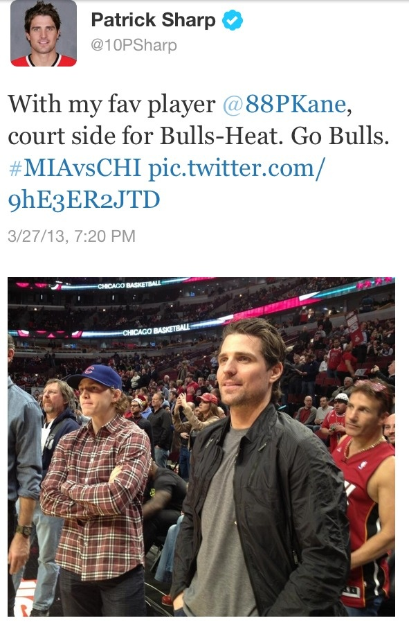 Patrick Kane and Patrick Sharp were there to see the Bulls beat the Heat. Maybe they were a good luck charm.