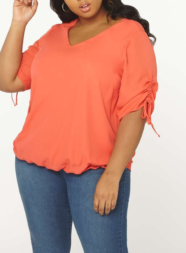 8cd5254f057 DP Curve Coral Ruched Sleeve Top - Tops   T-Shirts - Clothing