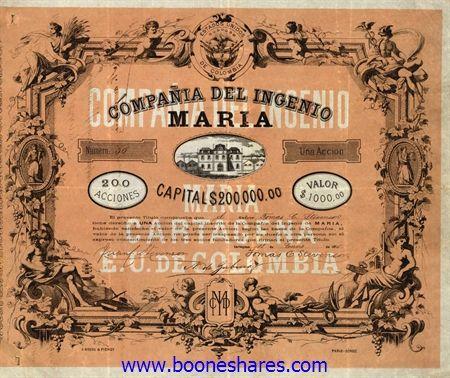 INGENIO MARIA, CIA. DEL / Colombia CARTAGENA. 1 Accion de $1000. orange, black. 1875 #200. No 36