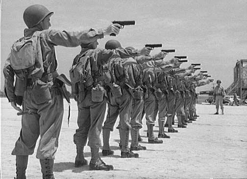 M1911A1 .45 cal. automatic pistol training, Air Service Command, Daniel Field, GA, July 1943