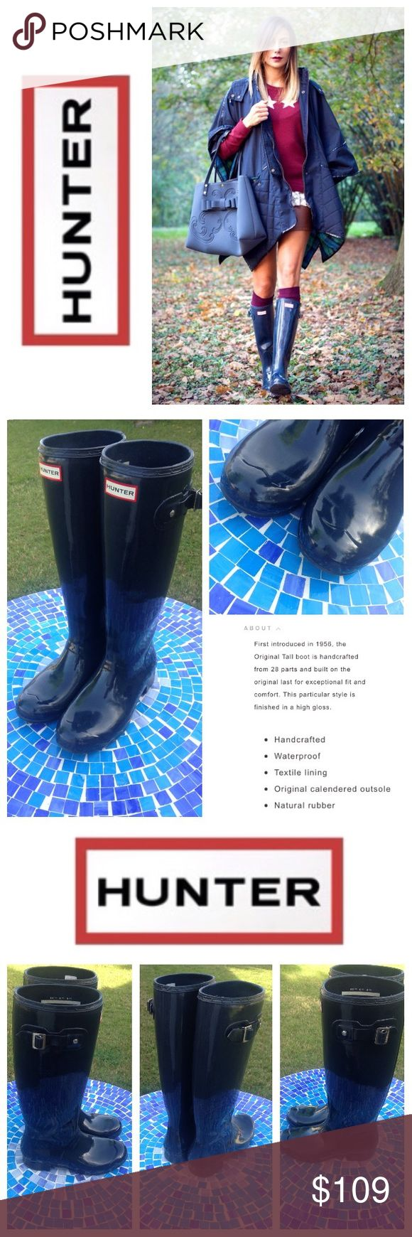 GREAT SHAPE!  HUNTER Original Tall gloss rain boot Exceptionally gorgeous HUNTER Original tall gloss rain boots couldn't be more functional!  Made from 100% waterproof rubber, these wellies will keep you dry in even the wettest weather!  Perfect for year-round wear & absolutely iconic, never going out of style!   Shade is a gorgeous blue, an ideal, neutral alternative to boring black!  No trades please.  Size is US 8 EU 39.  Retail at $160!  Gently worn with minimal wear to rubber, in…