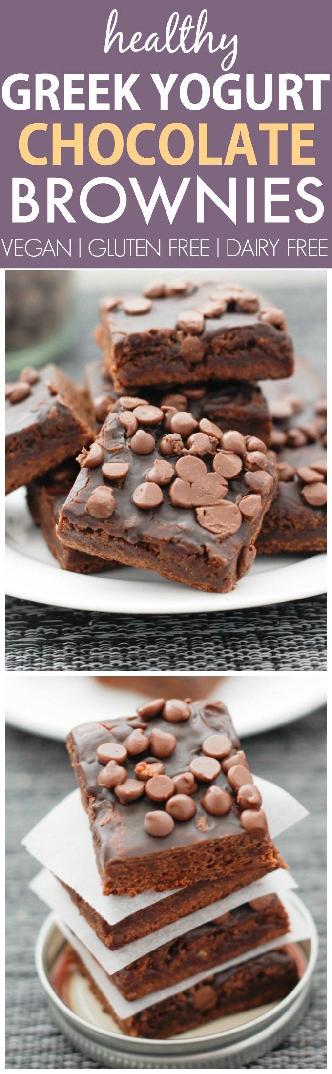 Healthy Greek Yogurt Chocolate Brownies- Moist, delicious and LOADED with chocolate goodness, these brownies have NO butter, oil or sugar, but you'd never tell! {vegan, gluten free, dairy free recipe option}- thebigmansworld.com