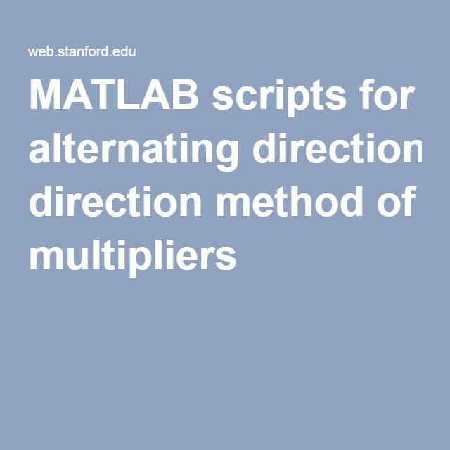 MATLAB scripts for alternating direction method of multipliers