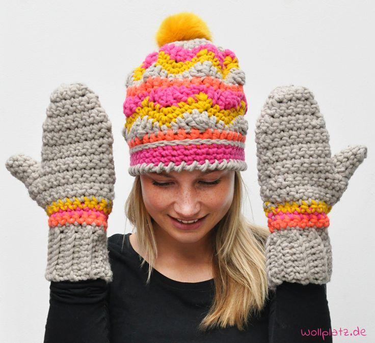 Eine tolle Mütze mit passenden Fäustlingen häkeln? Ruhige Basisfarben mit Neon kombiniert machen dieses Set supermodisch! Hier geht\'s zur gratis Anleitung.