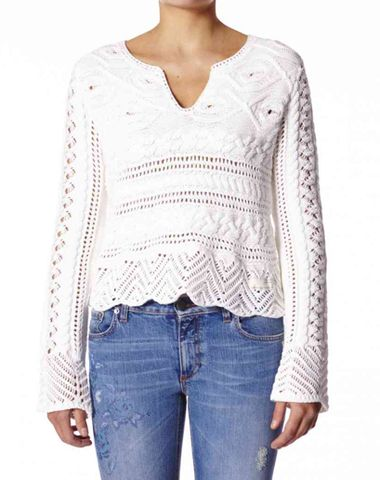 ODD MOLLY CREAM FEEL REAL SWEATER –   Odd Molly's luxurious sweater in a soft blush pink is crafted from 100% Cotton. This piece is designed for a fitted, just above the hip fit and is detailed with the brand's signature mixed cable and pointelle knit and crochet trimmings. Slip it over denim for a cool casual daytime look.  www.jessimara.com