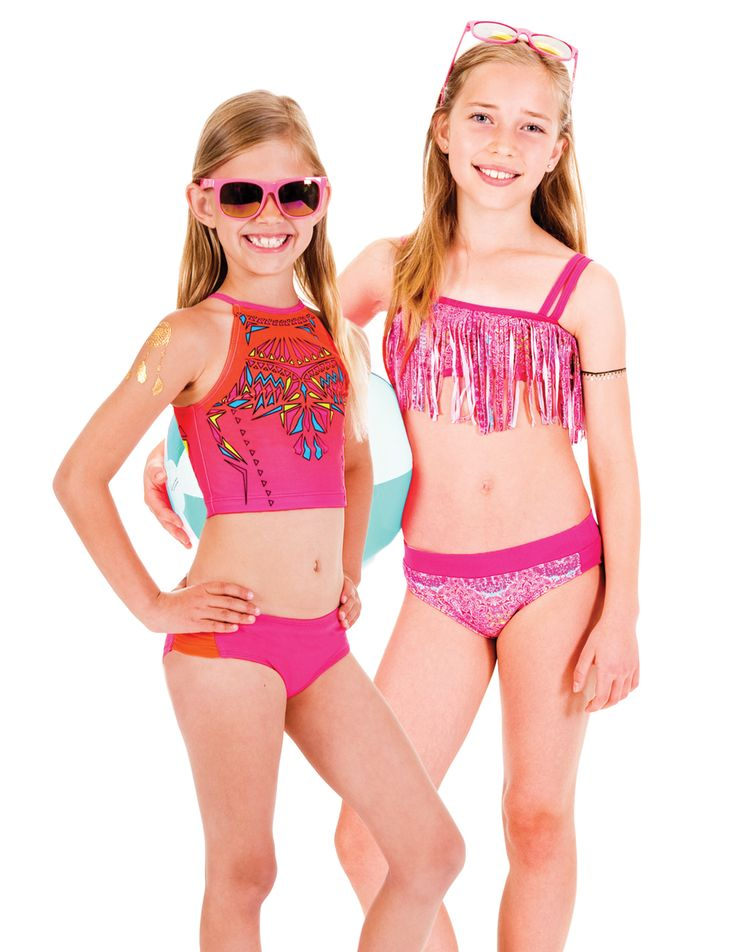 Limeapple's CAYO geometric cropped tankini and TAHA fringe bikini both featuring the Real Kids Shades SWAG sunglasses in pink