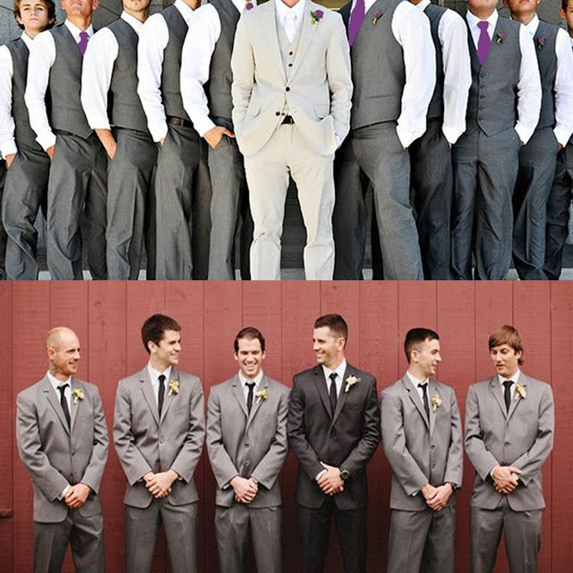 Groomsmen style: Maybe instead of different colored suits, the groomsmen only wear the vests and you the full suit.