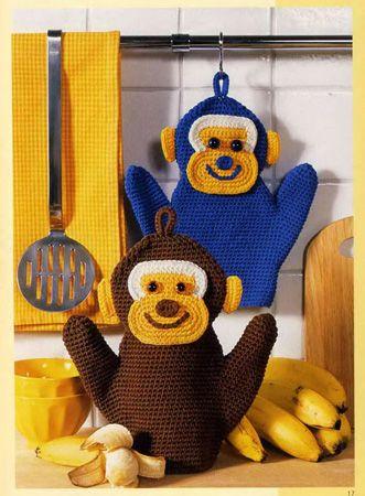 Delicadezas en crochet Gabriela: Cómo tejer mitones para caliente como monos  Felic...
