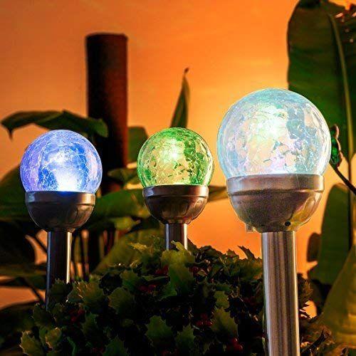 Gigalumi Avec En Craquelé 3 De Lampes D'extérieur Verre Lot Solaires rxhQtdCs