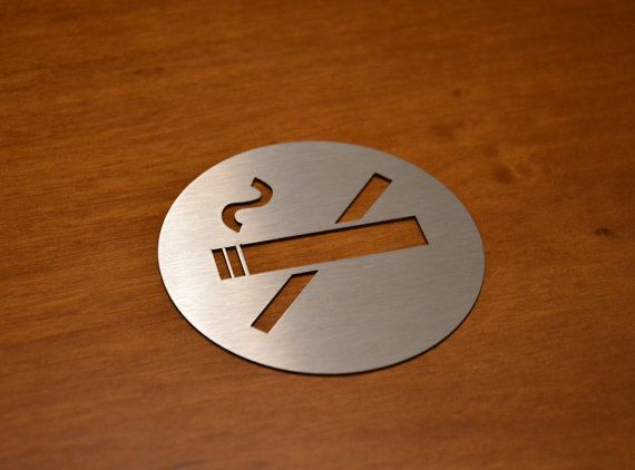 Stainless Steel No Smoking Sign 8 cm diameter by URARTDESIGN