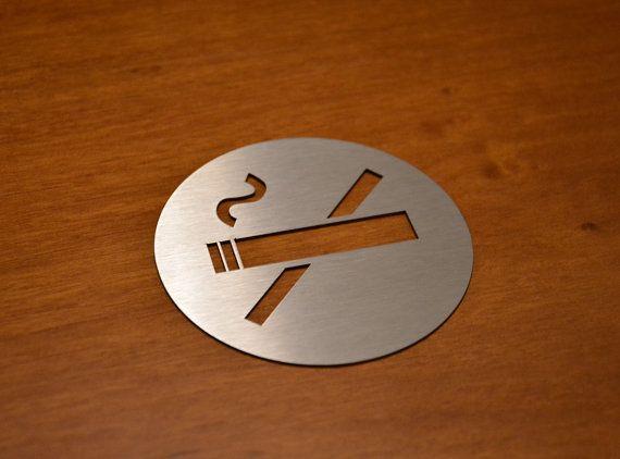 Stainless Steel No Smoking Sign 8 cm diameter by URARTDESIGN