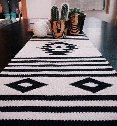 Modern Aztec Inspired Wool Table Runner In 2019 Home
