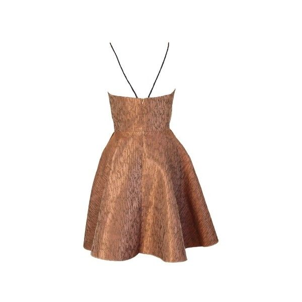 Joana Almagro Vionette Bronze Low Neck and Low Neck Dress (€600) ❤ liked on Polyvore featuring dresses, pocket dress, green bustier, high waist dress, green dress and backless bustier