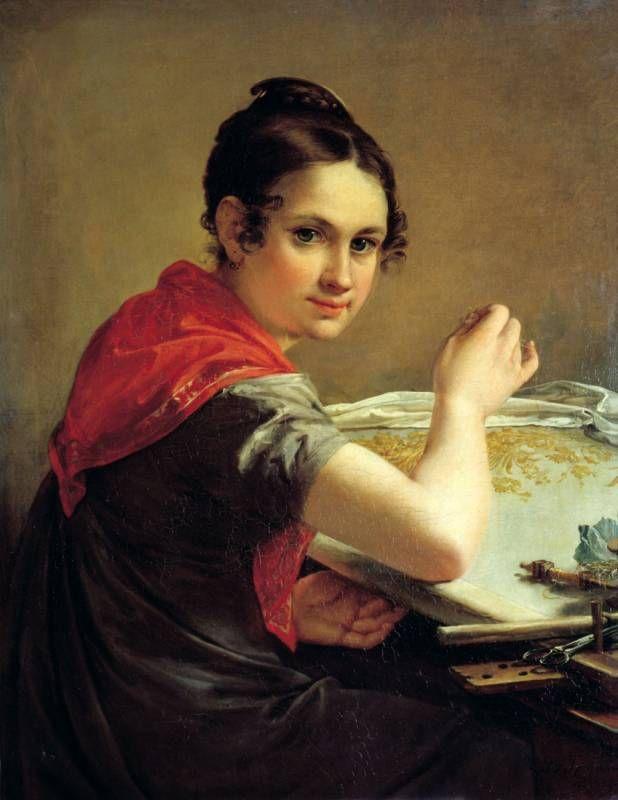 Василий Тропинин (1776-1857) - Золотошвейка. 1826