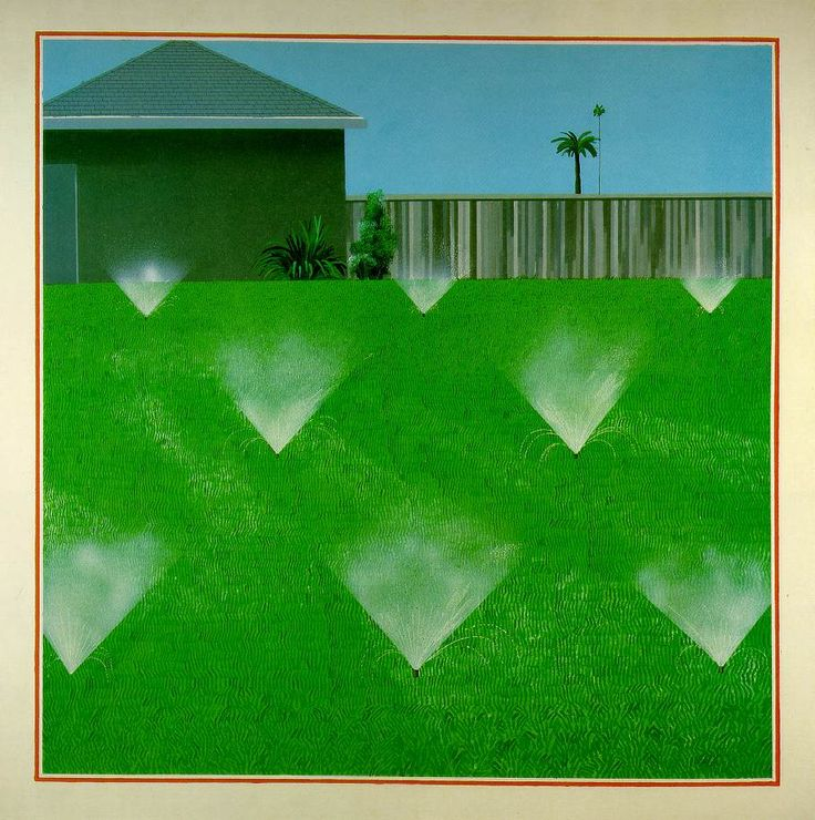 Hockney, David / A Lawn Being Sprinkled  1967 / Acrylic on canvas  96 x 96 in. (153 x 153 cm)