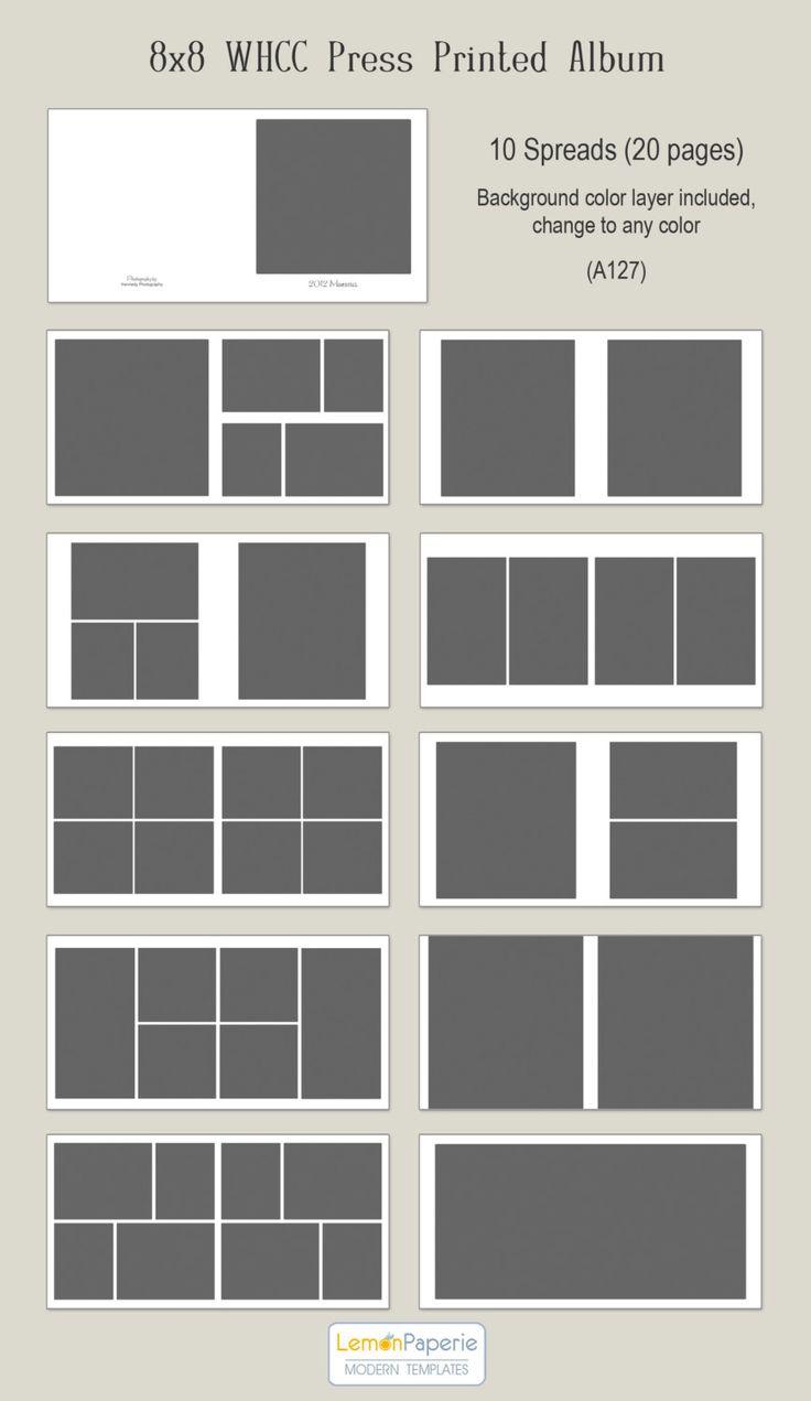 8x8 WHCC Press Printed Album Templates a127 por LemonPaperie