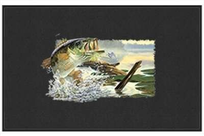 "Buzz Off Largemouth Bass - Freshwater Fish - Black - Door and Welcome Mat by Express Yourself Mats. $24.88. Made in USA. Great Gift Idea!. Door Mat Size 27""x18"". Non-Skid Backing. Personalization Available (choose above) - EMAIL TEXT TO SELLER AFTER CHECKOUT. Enjoy the Buzz Off Largemouth Bass design heat pressed on this light-weight, low pile, woven polyester door mat. This decorative welcome mat measures 27 x 18 inches, is 1/8 inch thick and features a non-skid latex coating o..."