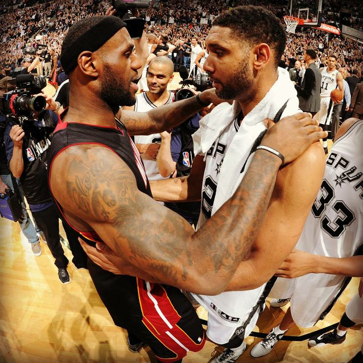 LeBron James and Tim Duncan.  Champions.
