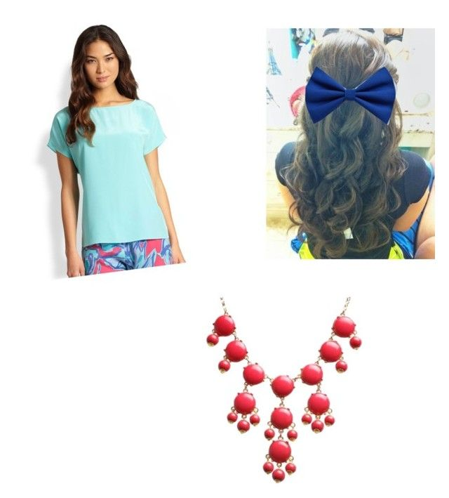 """""""Bow on Brunnete+ lilly pultizer shorts + Red bubble necklace"""" by lajla24 ❤ liked on Polyvore featuring Lilly Pulitzer"""