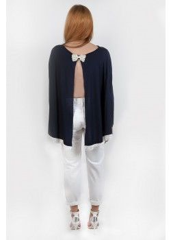 Sour Lou Lou Top with Crystal bow Navy.