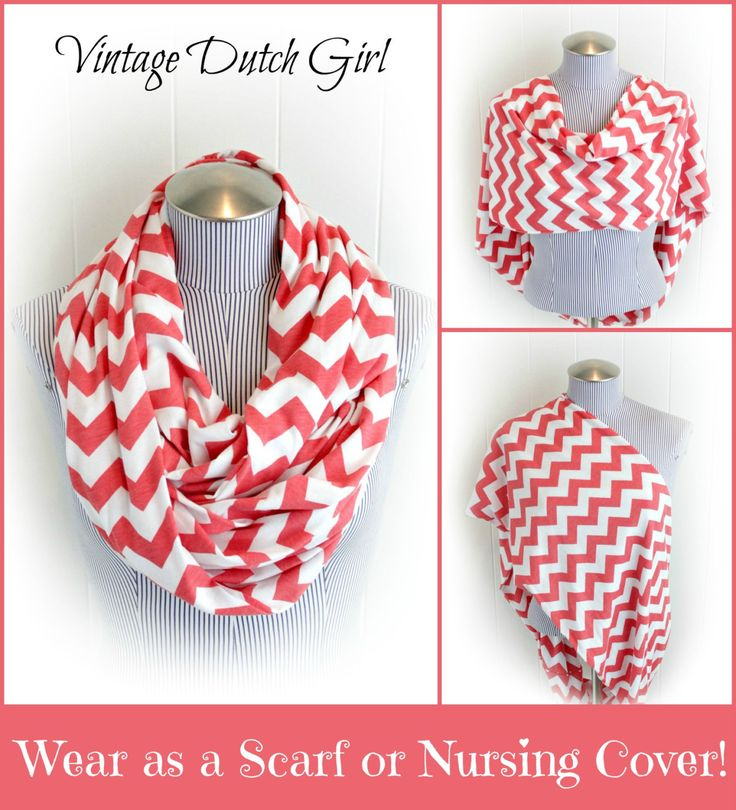 Chevron Infinity Nursing Scarf, Coral and White Chevron Breastfeeding Jersey Loop Scarf. $21.99, via Etsy.