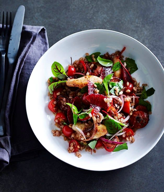 Squid, chorizo, spelt, blood orange and black garlic recipe, Darren Robertson, Three Blue Ducks :: Gourmet Traveller