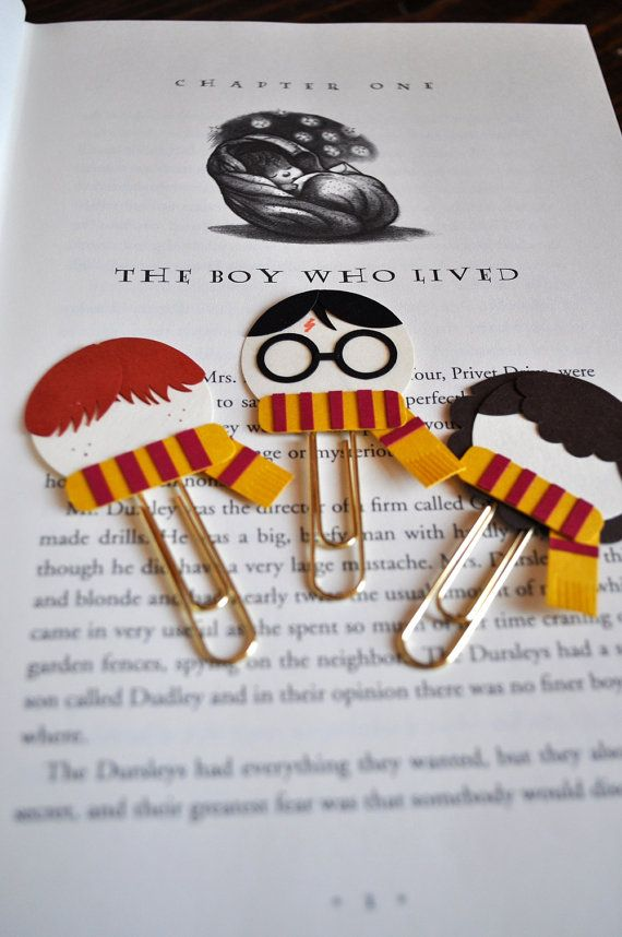 Harry Potter, Ron Weasley, Hermione Granger Punch Art Paperclip Bookmarks from MyPaperMoose on Etsy (Love these):