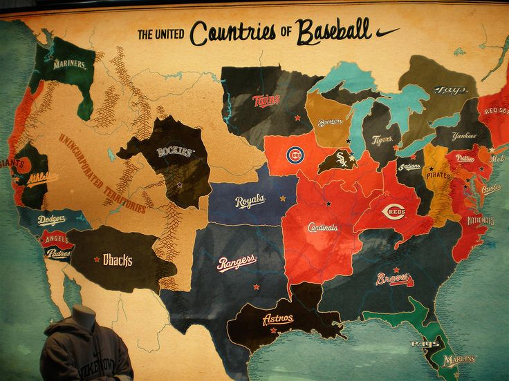 This map, indicating all teams in the National and American sub-leagues of Major League Baseball, translates some of the American obsession with baseball into a representation of the supposed 'countries' of baseball. By Cole & Weber for Nike