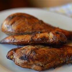 I have tried TONS and a TON of chicken marinade recipes over the years and this one is HANDS DOWN the best one I've EVER had! Thank you for this! I will use this often this summer! I used it on boneless chicken breasts, grilled them, sliced them and used them on an Asian Chicken Salad. But I am telling you I ate a bunch of the meat before it even met my salad it was so good!!! In this photo the meat looks dry for some reason but they were moist and perfect when we made them!