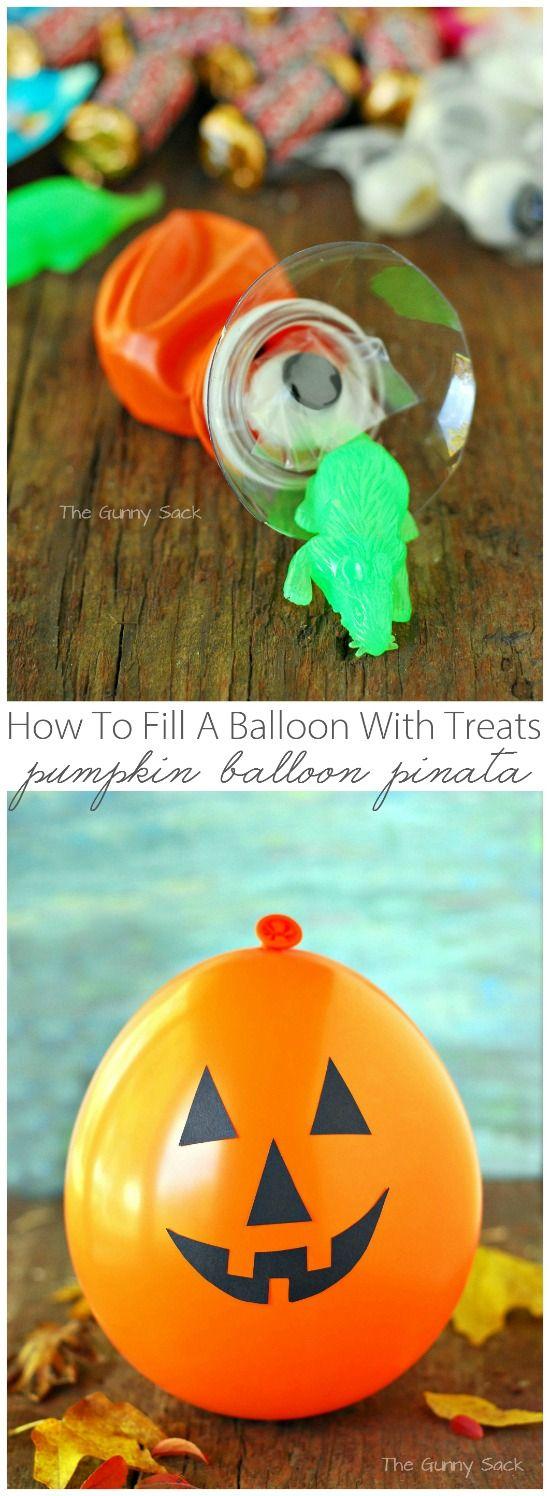 How To Fill A Balloon With Treats for a Halloween Jack O' Lantern Pumpkin Balloon Pinata