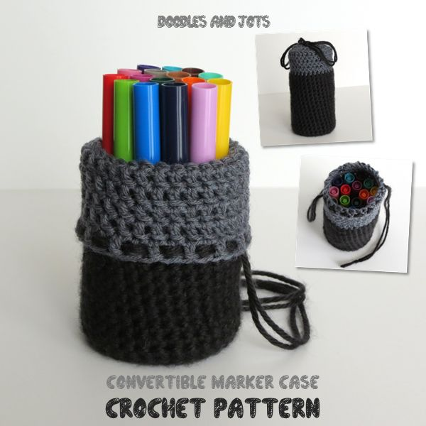 Crochet this marker case that converts from travel bag to pen jar; this quick and easy project makes a nice semi-handmade creative gift. Click through for free pattern...