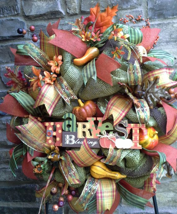 Fall Faux Green Burlap Wreath features gourds, squash, pumpkins, lively ribbons, Harvest Blessing wood sign.