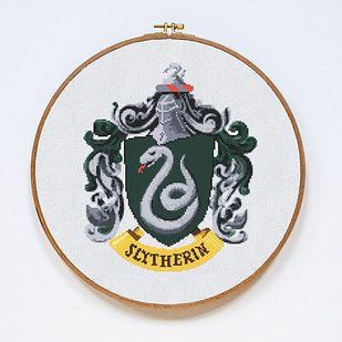 Cross stitch your Hogwarts house crest. | 36 Completely Fucking Awesome DIY Projects