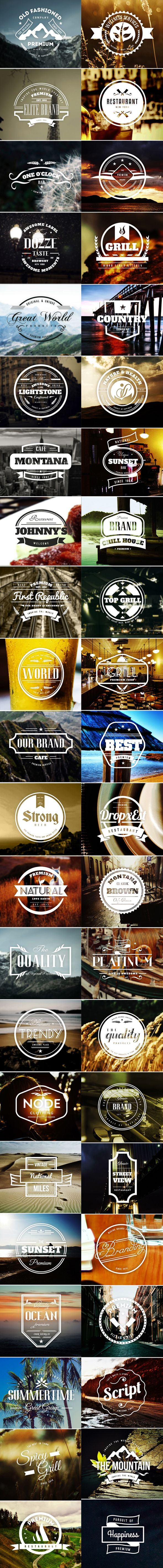 45 Retro Vintage Labels and Badges that you can use on Logos with emblem style, on beer labels, restaurants, coffee shops, bar and other places. Also you can use them on modern labels with a touch of Vintage style for your Website, Business, Stickers, T-s…
